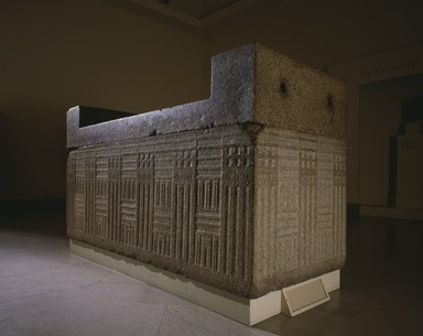 <em>Sarcophagus</em>, ca. 2555-2532 B.C.E. Granite, 51 1/4 x 93 1/4 x 41 in. (130.2 x 236.9 x 104.1 cm). Brooklyn Museum, Charles Edwin Wilbour Fund, 48.110. Creative Commons-BY (Photo: , 48.110_SL3.jpg)