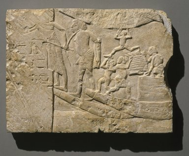 <em>Harbor Scene</em>, ca. 1336 B.C.E.-1295 B.C.E. Limestone, 11 15/16 x 16 1/8 x 1 7/16 in. (30.4 x 41 x 3.7 cm). Brooklyn Museum, Charles Edwin Wilbour Fund, 48.112. Creative Commons-BY (Photo: Brooklyn Museum, 48.112_SL1.jpg)