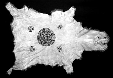 Naskapi. <em>Woman's Shawl</em>, before 1890. Caribou calf, pigment, 52 x 34 in.  (132.1 x 86.4 cm). Brooklyn Museum, By exchange, 48.116.6. Creative Commons-BY (Photo: Brooklyn Museum, 48.116.6_acetate_bw.jpg)