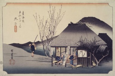 Utagawa Hiroshige (Ando) (Japanese, 1797-1858). <em>Mariko: Famous Tea Shop, from the series Fifty-three Stations of the Tōkaidō Road</em>, ca. 1833-1834. Color woodblock print on paper, 8 7/8 x 13 7/8 in. (22.5 x 35.3 cm). Brooklyn Museum, Anonymous gift, 48.123.1 (Photo: Brooklyn Museum, 48.123.1.jpg)
