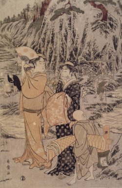 Kitagawa Utamaro (Japanese, 1753-1806). <em>Fishing at Iwaya, Enoshima</em>, ca. 1790. Color woodblock print on paper, 15 3/16 x 9 15/16 in. (38.5 x 25.2 cm). Brooklyn Museum, Anonymous gift, 48.123.3 (Photo: Brooklyn Museum, 48.123.3.jpg)