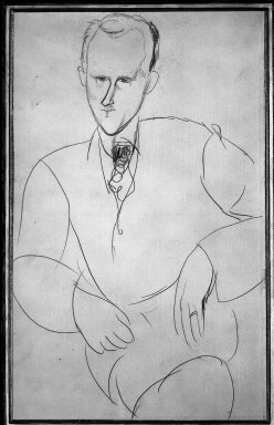 Amedeo Modigliani (Italian, 1884-1920). <em>Portrait of Charles Albert Cingria</em>. Drawing in pencil on wove paper, 19 5/16 x 11 15/16 in. (49 x 30.4 cm). Brooklyn Museum, Ella C. Woodward Memorial Fund, 48.12 (Photo: Brooklyn Museum, 48.12_acetate_bw.jpg)