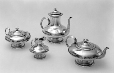 E. Hugo. <em>Coffee Pot from Tea Service</em>, 1838., 9 x 4 7/16 in. (22.9 x 11.3 cm). Brooklyn Museum, Gift of Mary S. Pondir-Jones, 48.130.4. Creative Commons-BY (Photo: , 48.130.1-48.130.4_bw.jpg)