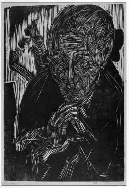 Ernst Ludwig Kirchner (German, 1880-1938). <em>Old Woman (Mother Müller) (Alte Bünderin [Mütter Müller])</em>, 1918. Woodcut on heavy wove paper, Image: 20 1/8 x 13 1/2 in. (51.1 x 34.3 cm). Brooklyn Museum, Charles Stewart Smith Memorial Fund, 48.135.2 (Photo: Brooklyn Museum, 48.135.2_acetate_bw.jpg)