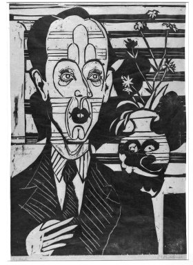 Ernst Ludwig Kirchner (German, 1880-1938). <em>Portrait of Dr. Huggler (Bildnis Dr. Huggler)</em>, 1935. Woodcut on thin laid paper, Image: 19 1/2 x 13 3/4 in. (49.5 x 34.9 cm). Brooklyn Museum, Charles Stewart Smith Memorial Fund, 48.135.3 (Photo: Brooklyn Museum, 48.135.3_acetate_bw.jpg)