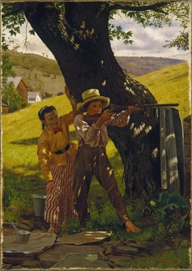John George Brown (American, born England, 1831-1913). <em>A Sure Shot</em>, ca. 1875. Oil on canvas, 20 7/8 x 14 13/16 in. (53.1 x 37.7 cm). Brooklyn Museum, Dick S. Ramsay Fund, 48.139 (Photo: Brooklyn Museum, 48.139_SL1.jpg)