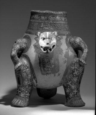 Greater Nicoya. <em>Jaguar Effigy Vessel</em>, 1000-1350 CE. Ceramic, pigment, 13 3/8 x 10 13/16 in. (34 x 27.5 cm). Brooklyn Museum, A. Augustus Healy Fund, 48.140.2. Creative Commons-BY (Photo: Brooklyn Museum, 48.140.2_view1_acetate_bw.jpg)