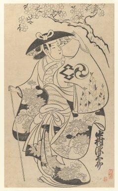 Torii Kiyonobu I (Japanese, 1664-1729). <em>Actor Nakamura Gentaro as Takiguchi's Wife Shinonome</em>, circa 1702. Woodblock print, Sheet: 28 x 22 in. (71.1 x 55.9 cm). Brooklyn Museum, Gift of Louis V. Ledoux, 48.15.10 (Photo: Brooklyn Museum, 48.15.10_IMLS_PS3.jpg)