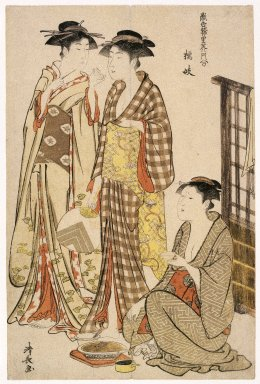 Torii Kiyonaga (Japanese, 1752-1815). <em>Geisha of Tachibana-chō, from the series Contest of Contemporary Beauties of the Pleasure Quarters</em>, 1782. Color woodblock print on paper, sheet: 15 x 10 in. (38.1 x 25.4 cm). Brooklyn Museum, Gift of Louis V. Ledoux, 48.15.5 (Photo: Brooklyn Museum, 48.15.5_IMLS_SL2.jpg)
