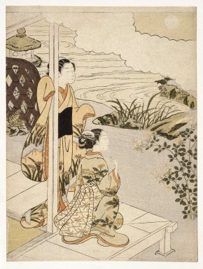 Suzuki Harunobu (Japanese, 1724-1770). <em>Two Girls on the Veranda Looking at the Moon</em>, 18th century. Color woodblock print on paper, 11 5/16 x 8 9/16 in. (28.8 x 21.8 cm). Brooklyn Museum, Gift of Louis V. Ledoux, 48.15.6 (Photo: Brooklyn Museum, 48.15.6_IMLS_SL2.jpg)