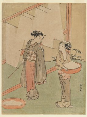 Suzuki Harunobu (Japanese, 1724-1770). <em>Young Girl and Servant Drying Japanese Fine Noodles</em>, ca. 1766. Color woodblock print on paper, 10 9/16 x 7 7/8 in. (26.8 x 20.1 cm). Brooklyn Museum, Gift of Louis V. Ledoux, 48.15.7 (Photo: Brooklyn Museum, 48.15.7_IMLS_PS3.jpg)