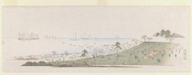 Utagawa Hiroshige (Ando) (Japanese, 1797-1858). <em>Cherry-blossom Time, People Picknicking at Gotenyama, from Letter-Sheet set.</em>, ca. 1839-1840. Woodblock color print Brooklyn Museum, Gift of Louis V. Ledoux, 48.15.9 (Photo: Brooklyn Museum, 48.15.9_IMLS_PS3.jpg)