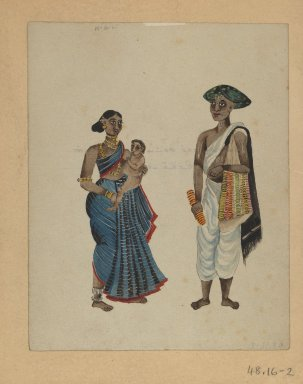 <em>One of Set of Nine Watercolors showing Indians in Different Professions</em>, 19th century. Watercolor on paper, 8 3/8 x 6 5/8 in.  (21.3 x 16.8 cm). Brooklyn Museum, Gift of Louis Loughlin, 48.16.2 (Photo: Brooklyn Museum, 48.16.2_IMLS_PS3.jpg)