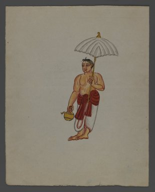<em>One of Set of Nine Watercolors showing Indians in Different Professions</em>, 19th century. Watercolor on paper, 8 3/8 x 6 5/8 in.  (21.3 x 16.8 cm). Brooklyn Museum, Gift of Louis Loughlin, 48.16.9 (Photo: Brooklyn Museum, 48.16.9_recto_IMLS_PS3.jpg)