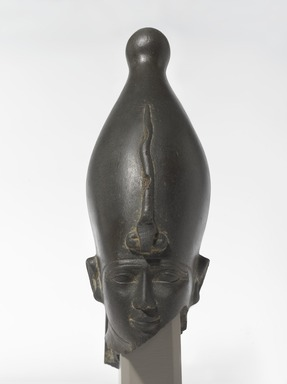 <em>The God Osiris</em>, ca. 595-525 B.C.E. Slate, 8 1/16 × 5 1/16 × 2 11/16 in., 4 lb. (20.5 × 12.8 × 6.8 cm, 1.81kg). Brooklyn Museum, Charles Edwin Wilbour Fund, 48.163. Creative Commons-BY (Photo: , 48.163_overall_PS9.jpg)