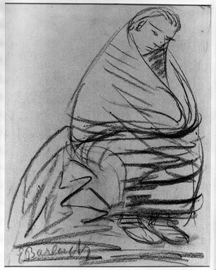 Ernst Barlach (German, 1870-1938). <em>Seated Figure</em>, ca. 1922-1925. Charcoal on heavy wove paper, Sheet: 15 1/4 x 12 in. (38.7 x 30.5 cm). Brooklyn Museum, Caroline A.L. Pratt Fund, 48.164 (Photo: Brooklyn Museum, 48.164_acetate_bw.jpg)