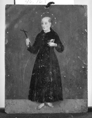 Unknown. <em>Small Painting Showing Monk</em>. On Tin Brooklyn Museum, Gift of George N. Kates, 48.169 (Photo: Brooklyn Museum, 48.169_bw.jpg)