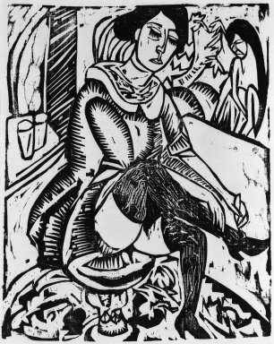 Ernst Ludwig Kirchner (German, 1880-1938). <em>Woman, Tying Shoe (Frau Schuh zuknöpfend)</em>, 1912. Woodcut on laid paper, Image: 12 1/8 x 9 7/8 in. (30.8 x 25.1 cm). Brooklyn Museum, Gift of J. B. Neumann, 48.172.3 (Photo: Brooklyn Museum, 48.172.3_bw_IMLS.jpg)