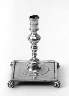 <em>Candlestick</em>, mid 18th century. Brass, 7 x 5 1/4 in. (17.8 x 13.3 cm). Brooklyn Museum, Gift of Mr. and Mrs. Luke Vincent Lockwood, 48.180.2. Creative Commons-BY (Photo: Brooklyn Museum, 48.180.2_bw.jpg)