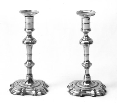 <em>Pair of Candlesticks</em>, mid 18th century. Brass, 8 3/4 x 4 1/2 in. (22.2 x 11.4 cm). Brooklyn Museum, Gift of Mr. and Mrs. Luke Vincent Lockwood, 48.180.4. Creative Commons-BY (Photo: Brooklyn Museum, 48.180.4a-b_bw.jpg)