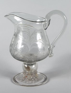 Thomas Jr. Leighton. <em>Pitcher</em>, ca. 1845. Blown glass, 11 in. (27.9 cm). Brooklyn Museum, Dick S. Ramsay Fund, 48.185. Creative Commons-BY (Photo: Brooklyn Museum, 48.185_PS5.jpg)