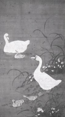 <em>One Chinese Painting of Ducks</em>, 1368-1644. Watercolor and ink on silk, 81 7/8 x 48 1/4 in. (208 x 122.5 cm). Brooklyn Museum, 48.190 (Photo: Brooklyn Museum, 48.190_bw_IMLS.jpg)