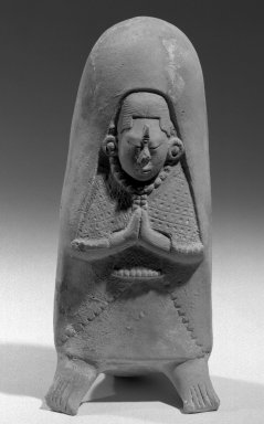 Maya. <em>Buffware Figure Whistle</em>. Clay, 7 5/8 × 3 1/2 × 3 1/4 in. (19.4 × 8.9 × 8.3 cm). Brooklyn Museum, 48.2.13. Creative Commons-BY (Photo: Brooklyn Museum, 48.2.13_acetate_bw.jpg)