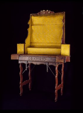 <em>Traveling Altar</em>, 1769-ca. 1820. Cedar, partially covered with leather; iron and brass hardware; interior lined with replacement yellow silk; and metal wire trim., Open: 88 x 60 1/2 x 20 in. (223.5 x 153.7 x 50.8 cm). Brooklyn Museum, Frank L. Babbott Fund, Frank Sherman Benson Fund, Carll H. de Silver Fund, A. Augustus Healy Fund, Caroline A.L. Pratt Fund, Charles Stewart Smith Memorial Fund, and Ella C. Woodward Memorial Fund, 48.206.11. Creative Commons-BY (Photo: Brooklyn Museum, 48.206.11_SL3.jpg)