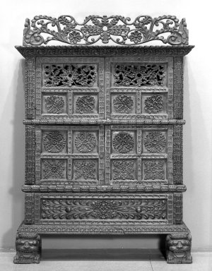 <em>Armoire</em>, 18th century. Wood; walnut?, 94 x 62 x 27 in. Brooklyn Museum, Frank L. Babbott Fund, Frank Sherman Benson Fund, Carll H. de Silver Fund, A. Augustus Healy Fund, Caroline A.L. Pratt Fund, Charles Stewart Smith Memorial Fund, and Ella C. Woodward Memorial Fund, 48.206.1. Creative Commons-BY (Photo: Brooklyn Museum, 48.206.1_acetate_bw.jpg)