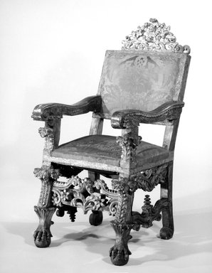 <em>Armchair</em>, 18th century. Partially gilded cedar, polychrome, mirrored glass, upholstery, 50 1/2 x 26 1/2 x 25in. (128.3 x 67.3 x 63.5cm). Brooklyn Museum, Frank L. Babbott Fund, Frank Sherman Benson Fund, Carll H. de Silver Fund, A. Augustus Healy Fund, Caroline A.L. Pratt Fund, Charles Stewart Smith Memorial Fund, and Ella C. Woodward Memorial Fund, 48.206.23. Creative Commons-BY (Photo: Brooklyn Museum, 48.206.23_bw.jpg)