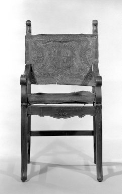 <em>Armchair</em>, ca.1750. Walnut, leather, 44 1/2 x 22 1/4 x 22 1/2 in. (113 x 56.5 x 57.2 cm). Brooklyn Museum, Frank L. Babbott Fund, Frank Sherman Benson Fund, Carll H. de Silver Fund, A. Augustus Healy Fund, Caroline A.L. Pratt Fund, Charles Stewart Smith Memorial Fund, and Ella C. Woodward Memorial Fund, 48.206.24. Creative Commons-BY (Photo: Brooklyn Museum, 48.206.24_bw.jpg)
