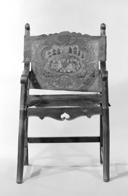 <em>Armchair</em>. Walnut, leather, 40 1/4 x 24 1/2 x 22 1/2 in. (102.2 x 62.2 x 57.2 cm). Brooklyn Museum, Frank L. Babbott Fund, Frank Sherman Benson Fund, Carll H. de Silver Fund, A. Augustus Healy Fund, Caroline A.L. Pratt Fund, Charles Stewart Smith Memorial Fund, and Ella C. Woodward Memorial Fund, 48.206.25. Creative Commons-BY (Photo: Brooklyn Museum, 48.206.25_bw.jpg)