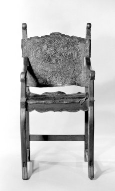 <em>Armchair</em>, ca. 1750. Walnut, leather, 42 x 21 x 21 1/2 in. (106.7 x 53.3 x 54.6 cm). Brooklyn Museum, Frank L. Babbott Fund, Frank Sherman Benson Fund, Carll H. de Silver Fund, A. Augustus Healy Fund, Caroline A.L. Pratt Fund, Charles Stewart Smith Memorial Fund, and Ella C. Woodward Memorial Fund, 48.206.27. Creative Commons-BY (Photo: Brooklyn Museum, 48.206.27_bw.jpg)