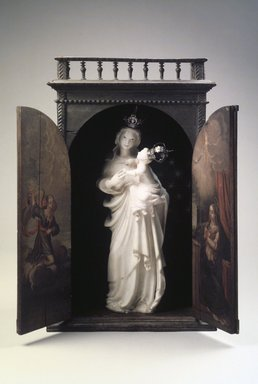 Unknown. <em>Crowned Virgin and Christ Child</em>, ca. 18th century. Marble, silver, polychrome, Sculpture: 23 x 10 x 6in. (58.4 x 25.4 x 15.2cm). Brooklyn Museum, Frank L. Babbott Fund, Frank Sherman Benson Fund, Carll H. de Silver Fund, A. Augustus Healy Fund, Caroline A.L. Pratt Fund, Charles Stewart Smith Memorial Fund, and Ella C. Woodward Memorial Fund, 48.206.30a-c. Creative Commons-BY (Photo: Brooklyn Museum, 48.206.30a-c.jpg)