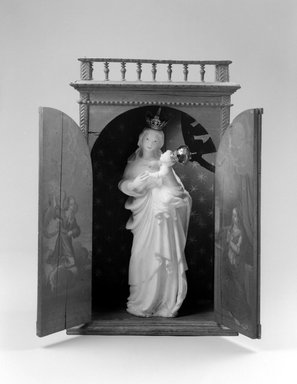 <em>Shrine for Statue of Madonna and Child</em>, 18th century. Tropical hardwood, pigments, 32 1/2 x 19 3/4 x 10 1/2in. (82.6 x 50.2 x 26.7cm). Brooklyn Museum, Frank L. Babbott Fund, Frank Sherman Benson Fund, Carll H. de Silver Fund, A. Augustus Healy Fund, Caroline A.L. Pratt Fund, Charles Stewart Smith Memorial Fund, and Ella C. Woodward Memorial Fund, 48.206.31. Creative Commons-BY (Photo: , 48.206.30a-c_48.206.31_bw.jpg)