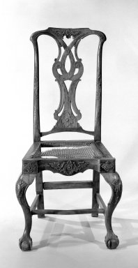 Chilean. <em>Side Chair</em>, 1760-1780., 42 1/2 x 21 x 21 1/2 in. (108 x 53.3 x 54.6 cm). Brooklyn Museum, Frank L. Babbott Fund, Frank Sherman Benson Fund, Carll H. de Silver Fund, A. Augustus Healy Fund, Caroline A.L. Pratt Fund, Charles Stewart Smith Memorial Fund, and Ella C. Woodward Memorial Fund, 48.206.47. Creative Commons-BY (Photo: Brooklyn Museum, 48.206.47_bw.jpg)
