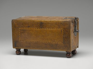 <em>Box</em>, ca.1700. Wood, 6 7/8 x 11 3/4 x 4 1/2 in. (17.5 x 29.8 x 11.4 cm). Brooklyn Museum, Frank L. Babbott Fund, Frank Sherman Benson Fund, Carll H. de Silver Fund, A. Augustus Healy Fund, Caroline A.L. Pratt Fund, Charles Stewart Smith Memorial Fund, and Ella C. Woodward Memorial Fund, 48.206.48. Creative Commons-BY (Photo: Brooklyn Museum, 48.206.48_PS6.jpg)