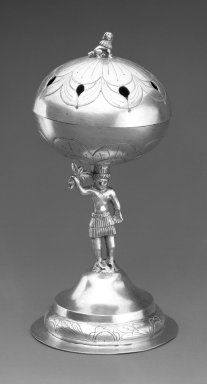 <em>Incense Burner</em>. Metal; silver, 8 x 3 15/16 x 3 5/8 in. Brooklyn Museum, Frank L. Babbott Fund, Frank Sherman Benson Fund, Carll H. de Silver Fund, A. Augustus Healy Fund, Caroline A.L. Pratt Fund, Charles Stewart Smith Memorial Fund, and Ella C. Woodward Memorial Fund, 48.206.66. Creative Commons-BY (Photo: Brooklyn Museum, 48.206.66_front_bw.jpg)