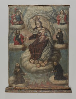 Cuzco School. <em>Our Lady of Mount Carmel</em>, possibly 1780s. Oil on canvas with wood case, canvas: 42 x 31 in. (106.7 x 78.7 cm). Brooklyn Museum, Frank L. Babbott Fund, Frank Sherman Benson Fund, Carll H. de Silver Fund, A. Augustus Healy Fund, Caroline A.L. Pratt Fund, Charles Stewart Smith Memorial Fund, and Ella C. Woodward Memorial Fund, 48.206.81a-c (Photo: Brooklyn Museum, 48.206.81a-c_PS9.jpg)