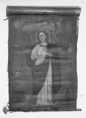 Unknown. <em>The Immaculata</em>. Oil on fabric, 17 x 13 1/2 in. (43.2 x 34.3 cm). Brooklyn Museum, Frank L. Babbott Fund, Frank Sherman Benson Fund, Carll H. de Silver Fund, A. Augustus Healy Fund, Caroline A.L. Pratt Fund, Charles Stewart Smith Memorial Fund, and Ella C. Woodward Memorial Fund, 48.206.82 (Photo: Brooklyn Museum, 48.206.82_bw.jpg)