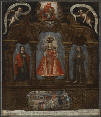 Arequipa School. <em>Our Lady of Cocharcas on the Altar</em>, 18th century. Oil on canvas, 34 7/8 x 30 1/8in. (88.6 x 76.5cm). Brooklyn Museum, Frank L. Babbott Fund, Frank Sherman Benson Fund, Carll H. de Silver Fund, A. Augustus Healy Fund, Caroline A.L. Pratt Fund, Charles Stewart Smith Memorial Fund, and Ella C. Woodward Memorial Fund, 48.206.83 (Photo: Brooklyn Museum, 48.206.83_PS6.jpg)