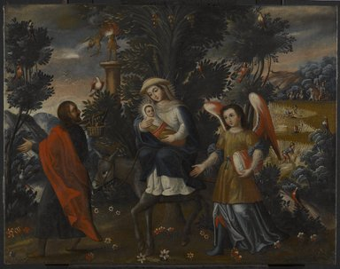 Cuzco School. <em>The Flight Into Egypt</em>, mid-18th century. Oil on canvas, 23 1/4 x 29 3/4in. (59.1 x 75.6cm). Brooklyn Museum, Frank L. Babbott Fund, Frank Sherman Benson Fund, Carll H. de Silver Fund, A. Augustus Healy Fund, Caroline A.L. Pratt Fund, Charles Stewart Smith Memorial Fund, and Ella C. Woodward Memorial Fund, 48.206.85 (Photo: Brooklyn Museum, 48.206.85_PS6.jpg)