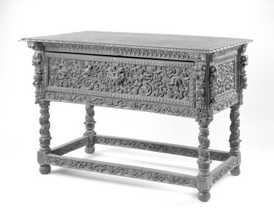 <em>Console Table</em>, 17th century. Walnut, 39 x 58 x 30 3/4 in. Brooklyn Museum, Frank L. Babbott Fund, Frank Sherman Benson Fund, Carll H. de Silver Fund, A. Augustus Healy Fund, Caroline A.L. Pratt Fund, Charles Stewart Smith Memorial Fund, and Ella C. Woodward Memorial Fund, 48.206.9. Creative Commons-BY (Photo: Brooklyn Museum, 48.206.9_bw.jpg)