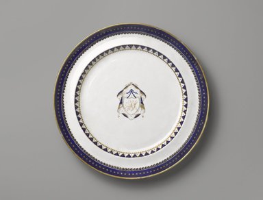 <em>Dinner Plate</em>, 1800-1810. Porcelain, 1 1/8 x 9 7/8 in. (2.9 x 25.1 cm). Brooklyn Museum, Gift of Mrs. William Sterling Peters, 48.207.41. Creative Commons-BY (Photo: Brooklyn Museum, 48.207.41_PS6.jpg)