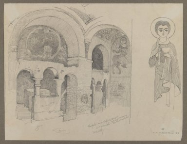 Edwin Howland Blashfield (American, 1848-1936). <em>Early Christian (Coptic) Monastery at Esna</em>, March 1, 1887. Graphite on cream, medium-weight, smooth wove paper, Sheet: 8 1/4 x 10 3/4 in. (21 x 27.3 cm). Brooklyn Museum, Gift of John H. Field, 48.217.1 (Photo: Brooklyn Museum, 48.217.1_IMLS_PS3.jpg)