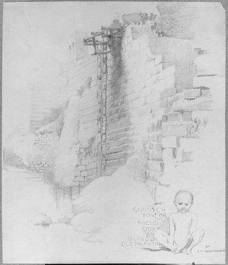 Edwin Howland Blashfield (American, 1848-1936). <em>Sakia at the Nilometer, Island of Elephantine</em>, 1887. Graphite on paper mounted to gray paperboard, Sheet: 11 3/4 x 10 1/16 in. (29.8 x 25.6 cm). Brooklyn Museum, Gift of John H. Field, 48.217.3 (Photo: Brooklyn Museum, 48.217.3_bw.jpg)