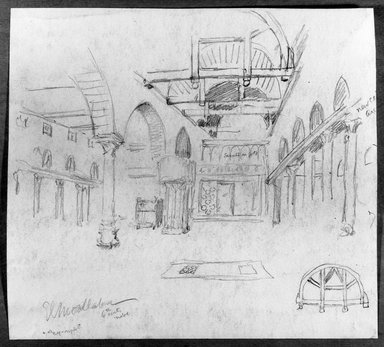 Edwin Howland Blashfield (American, 1848-1936). <em>El Moallanga Church in Old Cairo</em>, n.d. Graphite on paper mounted to paperboard, Sheet: 10 3/4 x 11 15/16 in. (27.3 x 30.3 cm). Brooklyn Museum, Gift of John H. Field, 48.217.4 (Photo: Brooklyn Museum, 48.217.4_bw.jpg)