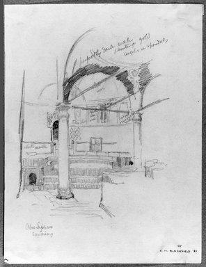 Edwin Howland Blashfield (American, 1848-1936). <em>Abu Seifein Church in Old Cairo</em>, 1887. Graphite on paper mounted to paperboard, Sheet: 14 1/16 x 10 3/4 in. (35.7 x 27.3 cm). Brooklyn Museum, Gift of John H. Field, 48.217.5 (Photo: Brooklyn Museum, 48.217.5_bw.jpg)