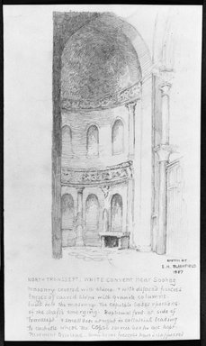 Edwin Howland Blashfield (American, 1848-1936). <em>Church at the White Convent, Near Sohag</em>, 1887. Graphite on paper, Sheet: 10 3/8 x 6 1/4 in. (26.4 x 15.9 cm). Brooklyn Museum, Gift of John H. Field, 48.217.6 (Photo: Brooklyn Museum, 48.217.6_bw.jpg)