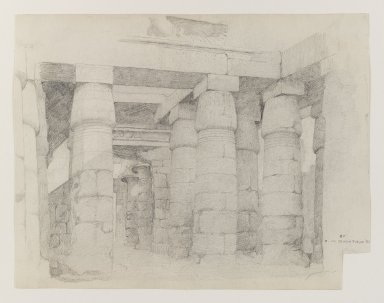 Edwin Howland Blashfield (American, 1848-1936). <em>Temple of Khonsu at Karnak</em>, 1887. Graphite on medium, cream, slilghtly textured, wove paper, Sheet (uneven): 10 5/8 x 13 3/4 in. (27 x 34.9 cm). Brooklyn Museum, Gift of John H. Field, 48.217.8 (Photo: Brooklyn Museum, 48.217.8_PS4.jpg)